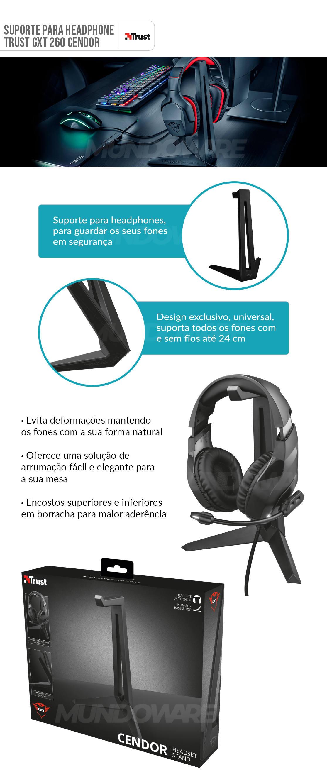 Suporte para Fone de Ouvido de até 24cm Design Exclusivo Evitando Deformações Trust Cendor GXT 260
