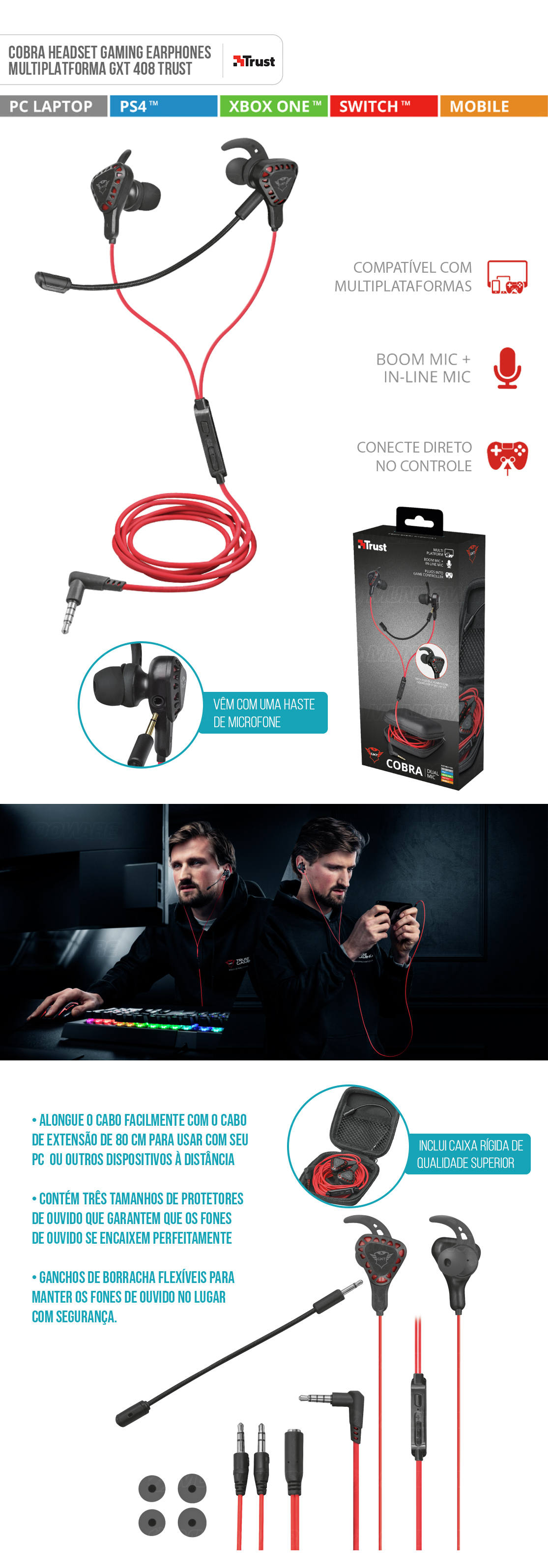 Earphones Gaming Cobra GXT 408 Multiplataforma Microfones Duplos e Boom Destatável Projetado para Jogos Trust