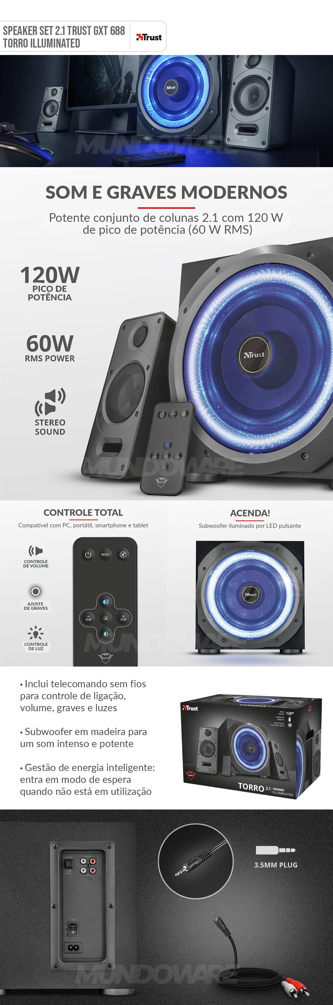Caixa de som 2.1 60W RMS em Madeira Som Intenso e Potente Multiplataforma LED Pulsante Controle Sem Fio Trust GXT688 Torro