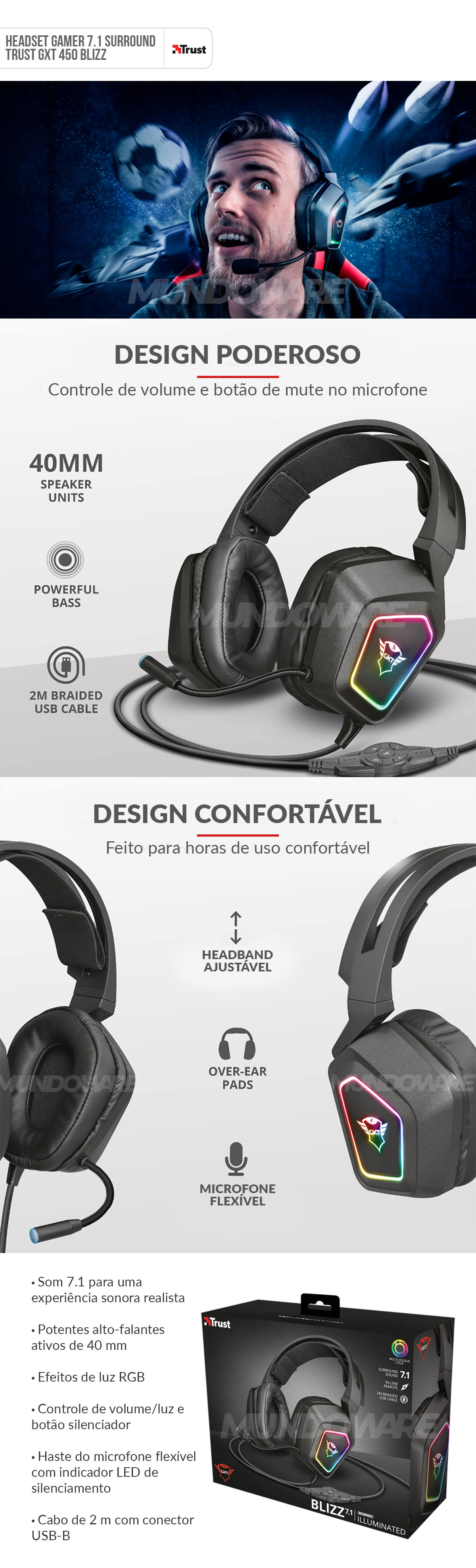 Headset Gamer 7.1 Surround Alta Fidelidade Sonora e Graves Potentes RGB Trust Blizz GTX-450 Gaming