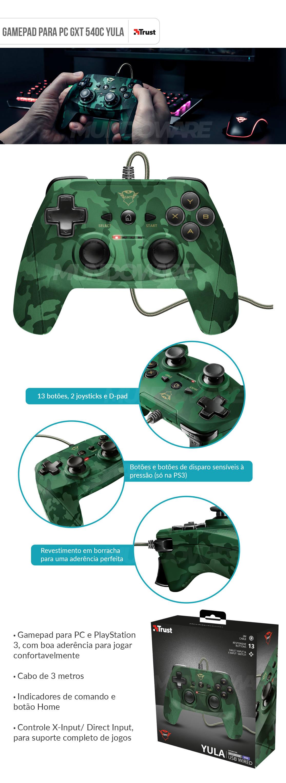 Gamepad para PC com 13 botões 2 Joysticks D-pad Cabo de 3 metros Trust GXT 540C Yula Camuflado