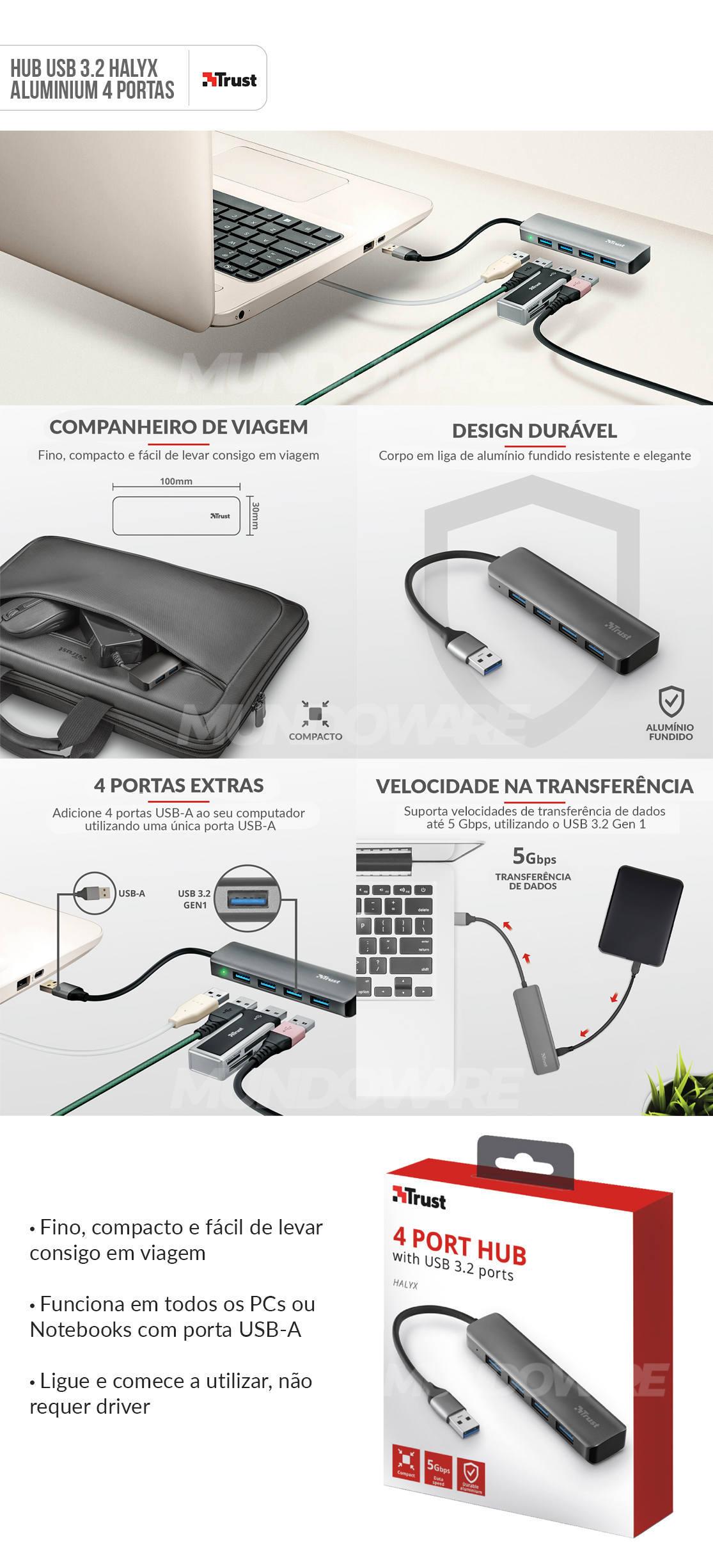 Hub USB 3.2 com 4 Portas 10x3cm em Alumínio Velocidade de até 5 Gbps Halyx