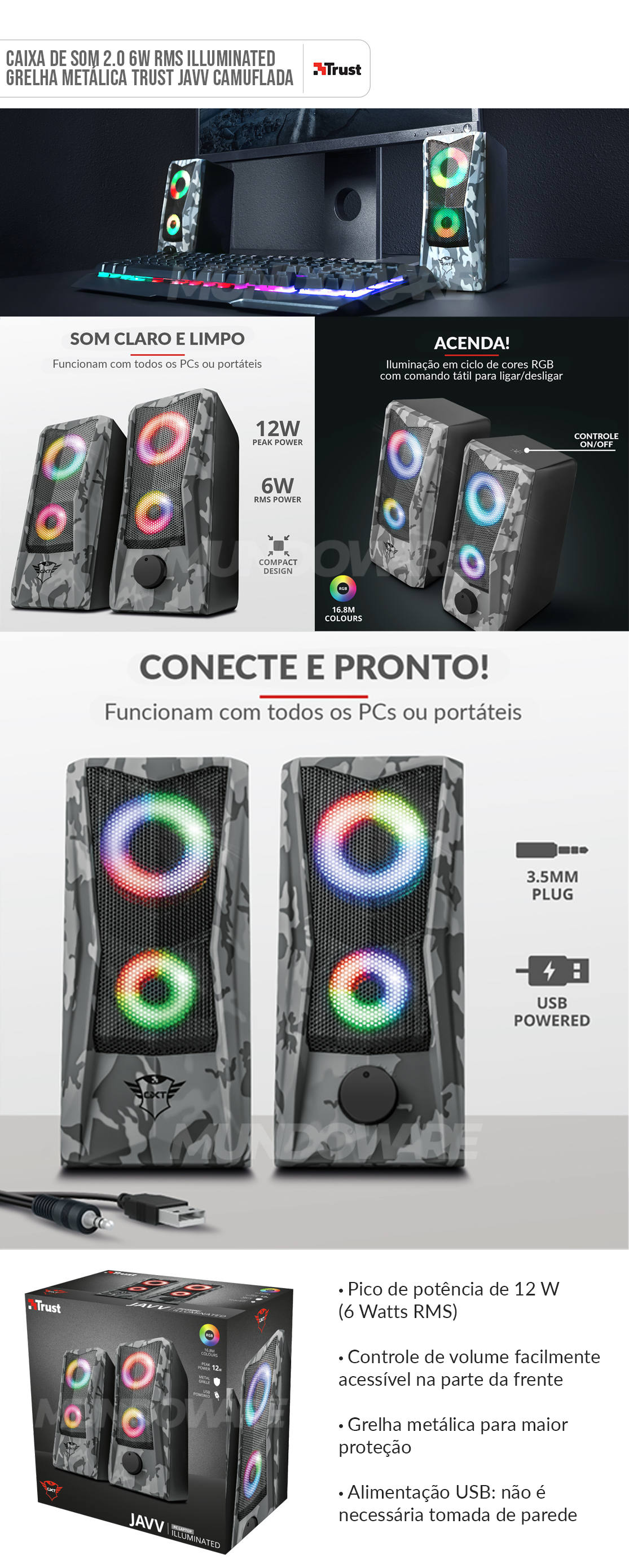 Caixa GXT 606 Javv Illuminated 2.0 Speaker Set 6W RMS Grelha Metálica Trust Camuflado