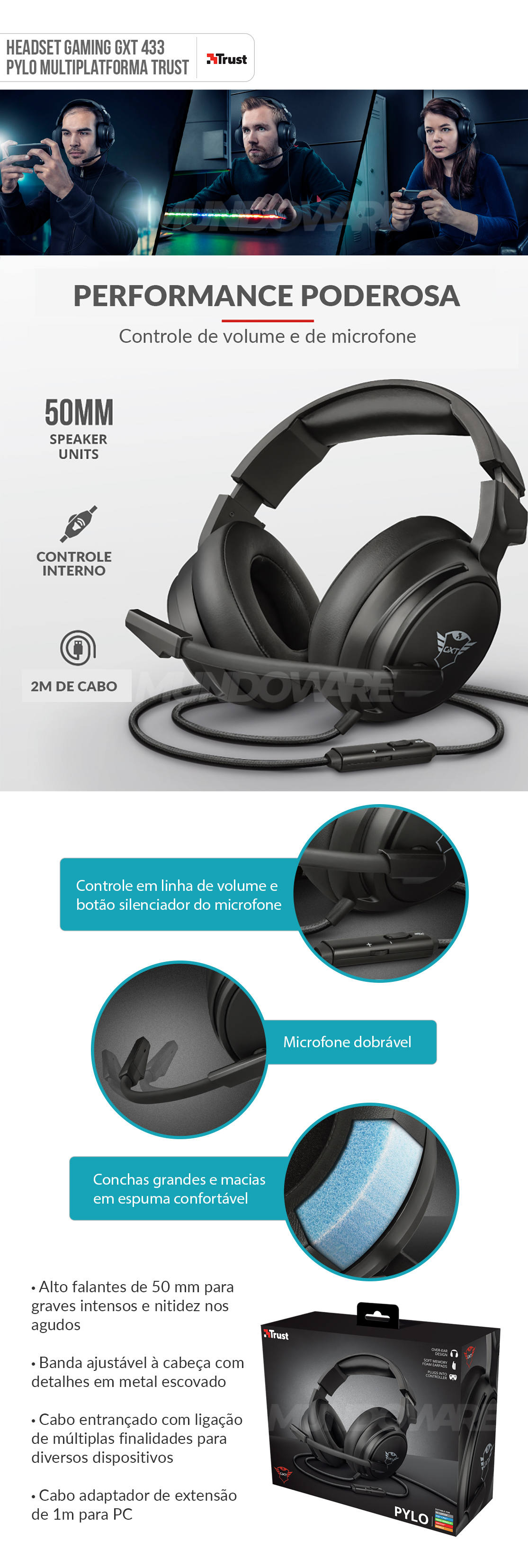 Headset Gamer Multiplatforma Som Potente e Conforto Extremo Trust GXT 433 Pylo Preto