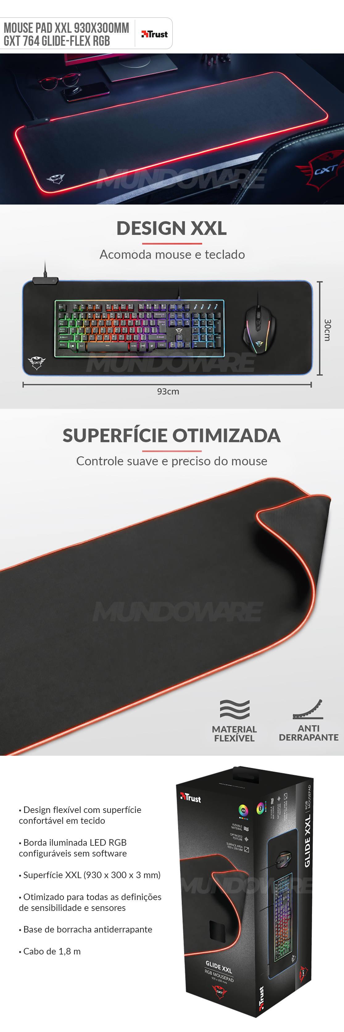 Mousepad Gamer XXL 930 x 300 x 3 mm com Iluminação RGB e Textura otimizada GXT 764 Glide Flex RGB Mouse Pad Preto