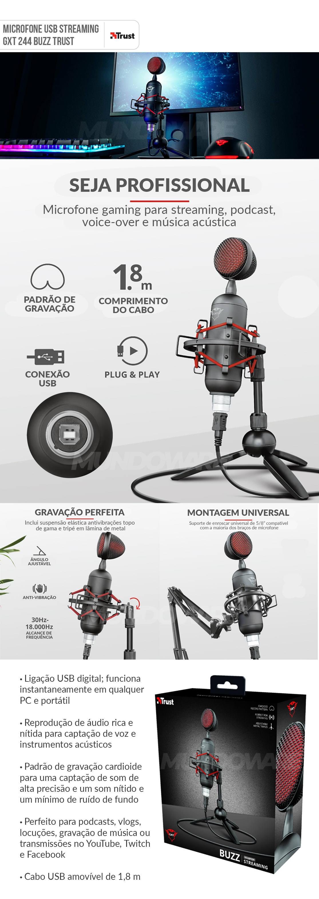 Microfone Cardioide USB digital para Streaming de Alta Precisão GXT 244 Buzz Trust