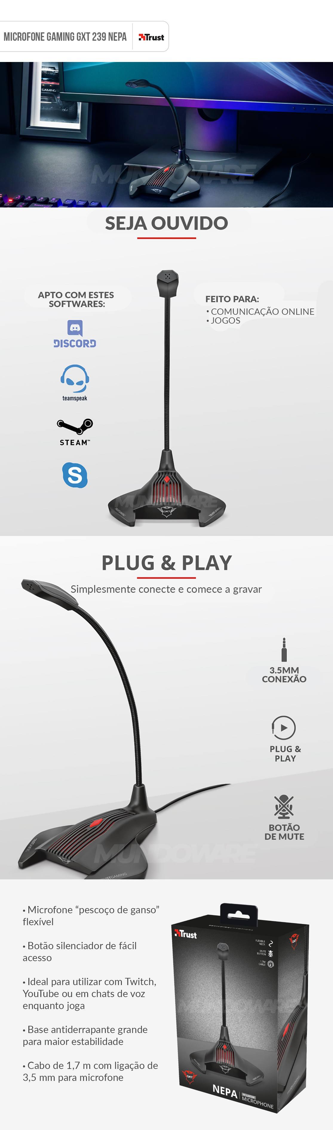 Microfone Pescoço de Ganso Flexível Conector 3.5mm Cabo 1.7m Botão Mute de Fácil Acesso Trust GXT 239 NEPA