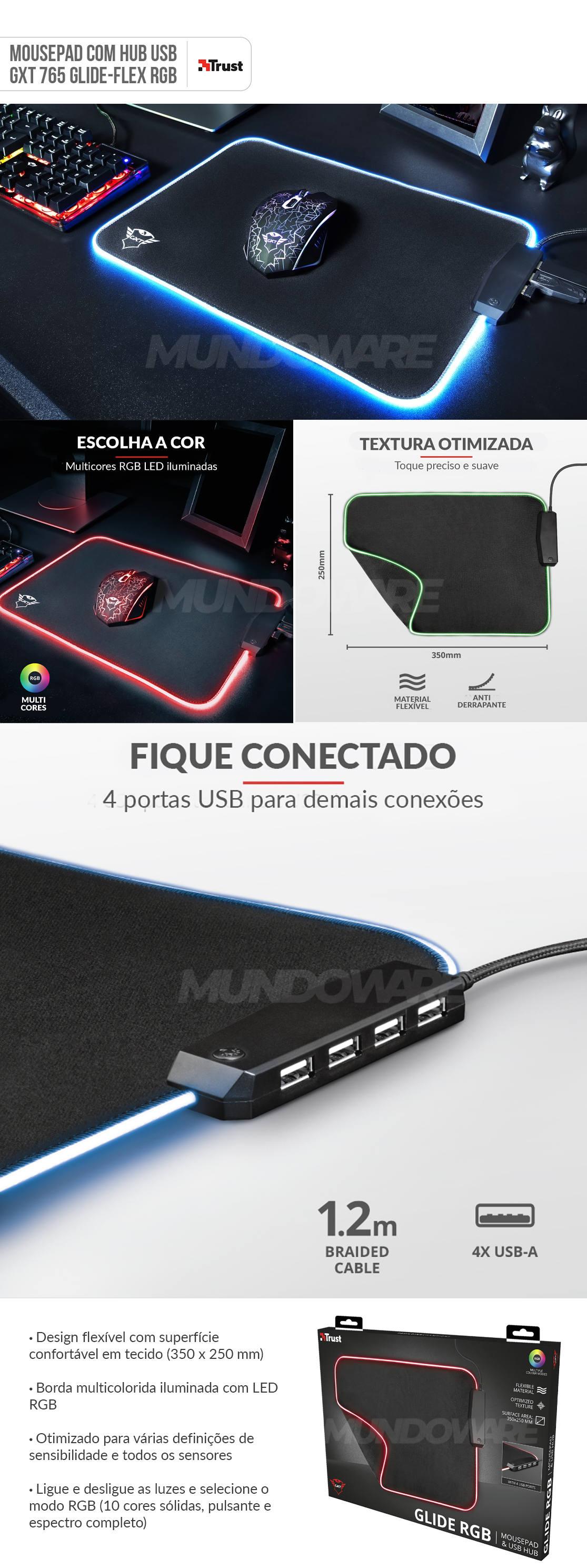 Mousepad Gamer com Hub USB 4 Portas integrado Bordas LED RGB 350x250x3mm Trust Glide GXT 765