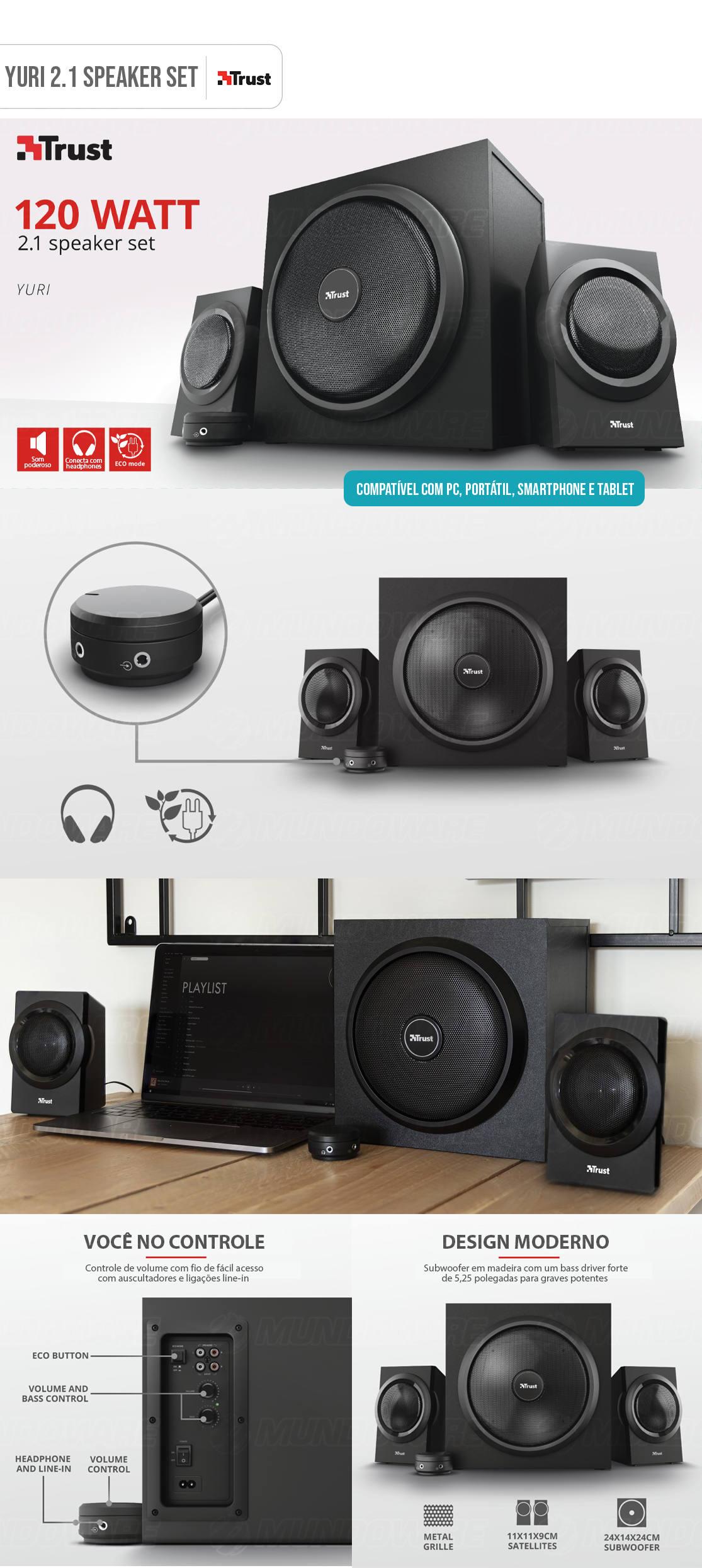 Caixa de Som com Subwoofer Speaker Set Yuri 2.1 120W com Fio e Graves Dinâmicos e Som Potente Trust
