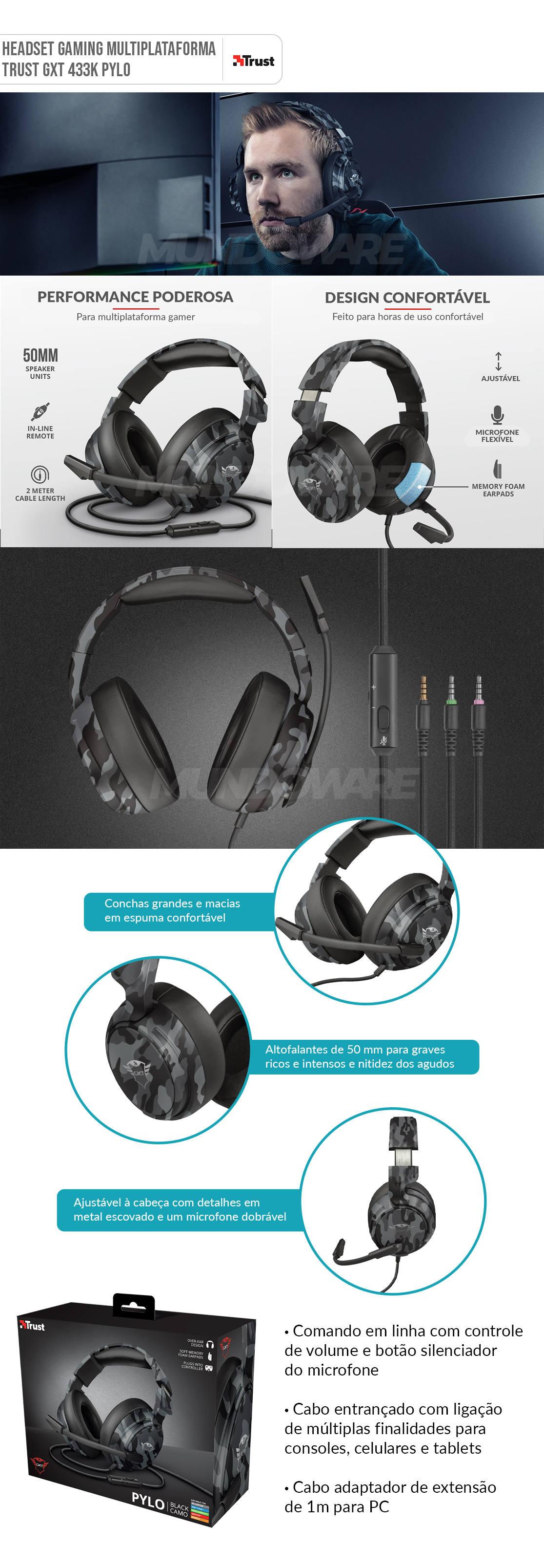 Fone de Ouvido Gamer Multiplataforma Over-Ear Microfone Dobrável Trust GXT 433K Pylo Headset Camo Black