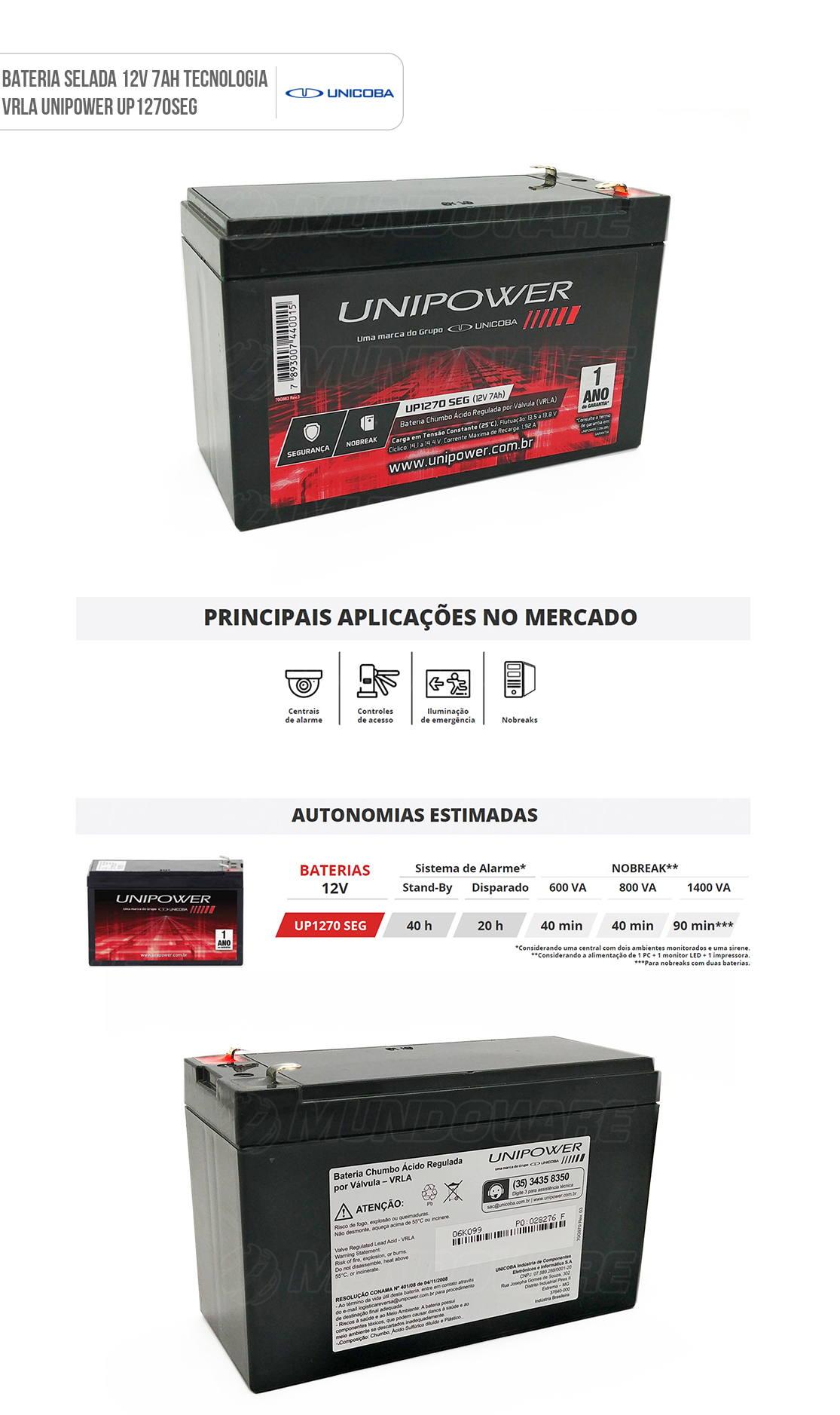 Bateria 12V 7Ah Selada para Nobreak Sistema de Segurança e Alarme VRLA Unipower UP1270 SEG