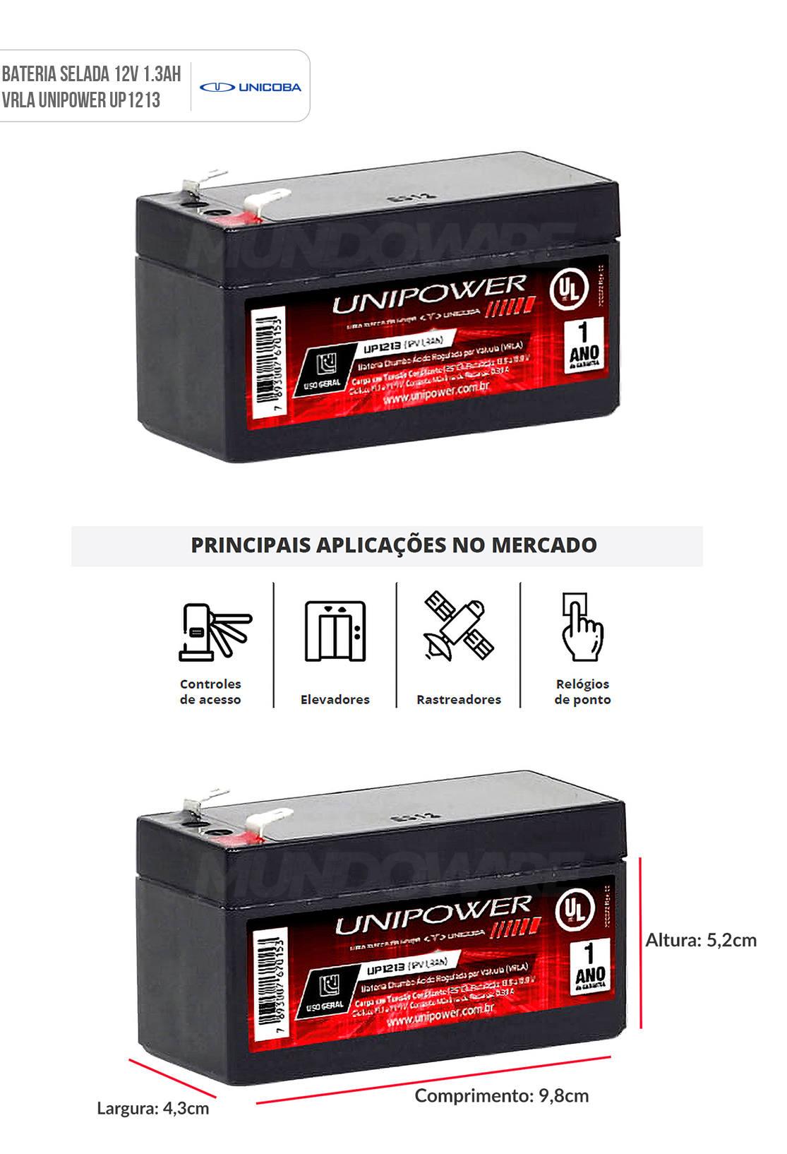 Bateria 12V 1.3Ah Selada para Relógios de Ponto Controles de Acesso Elevadores VRLA Unicoba Unipower UP1213